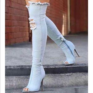 Thigh high denim heels